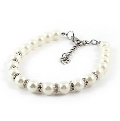 White Faux Pearl Linked Rhinestone Pet Dog Yorkie Collar Necklace S size