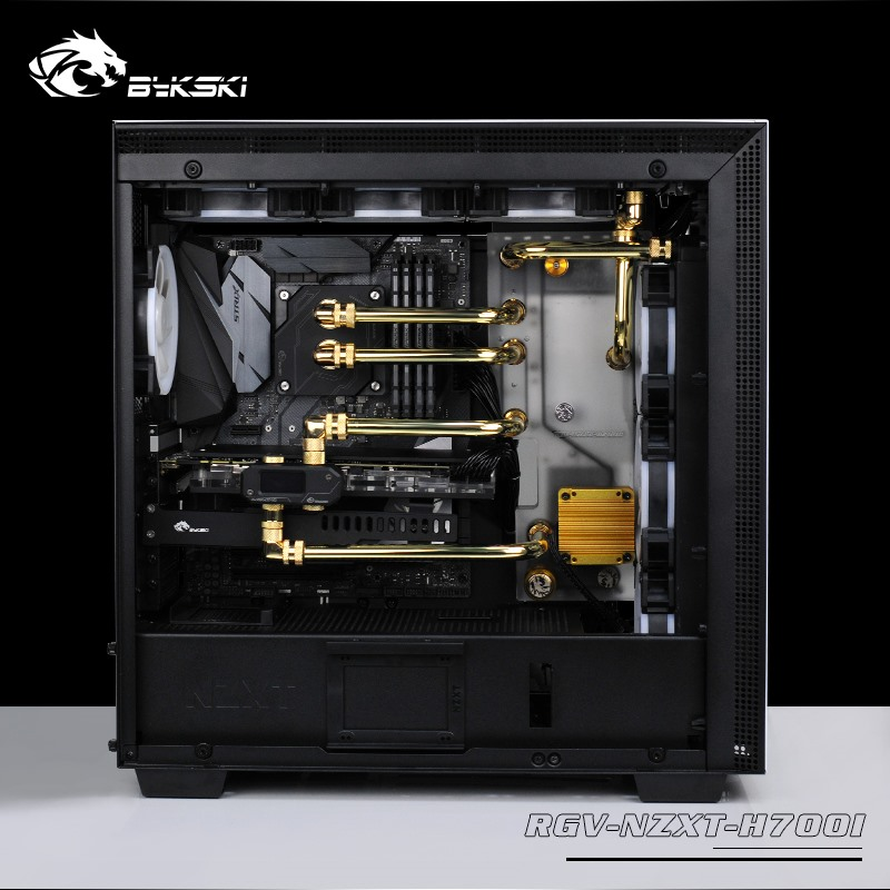 BYKSKI Acrylic Board Water Channel Solution Use For NZXT H700B Computer Case For CPU And GPU Block Cooling / 3PIN RGB Light