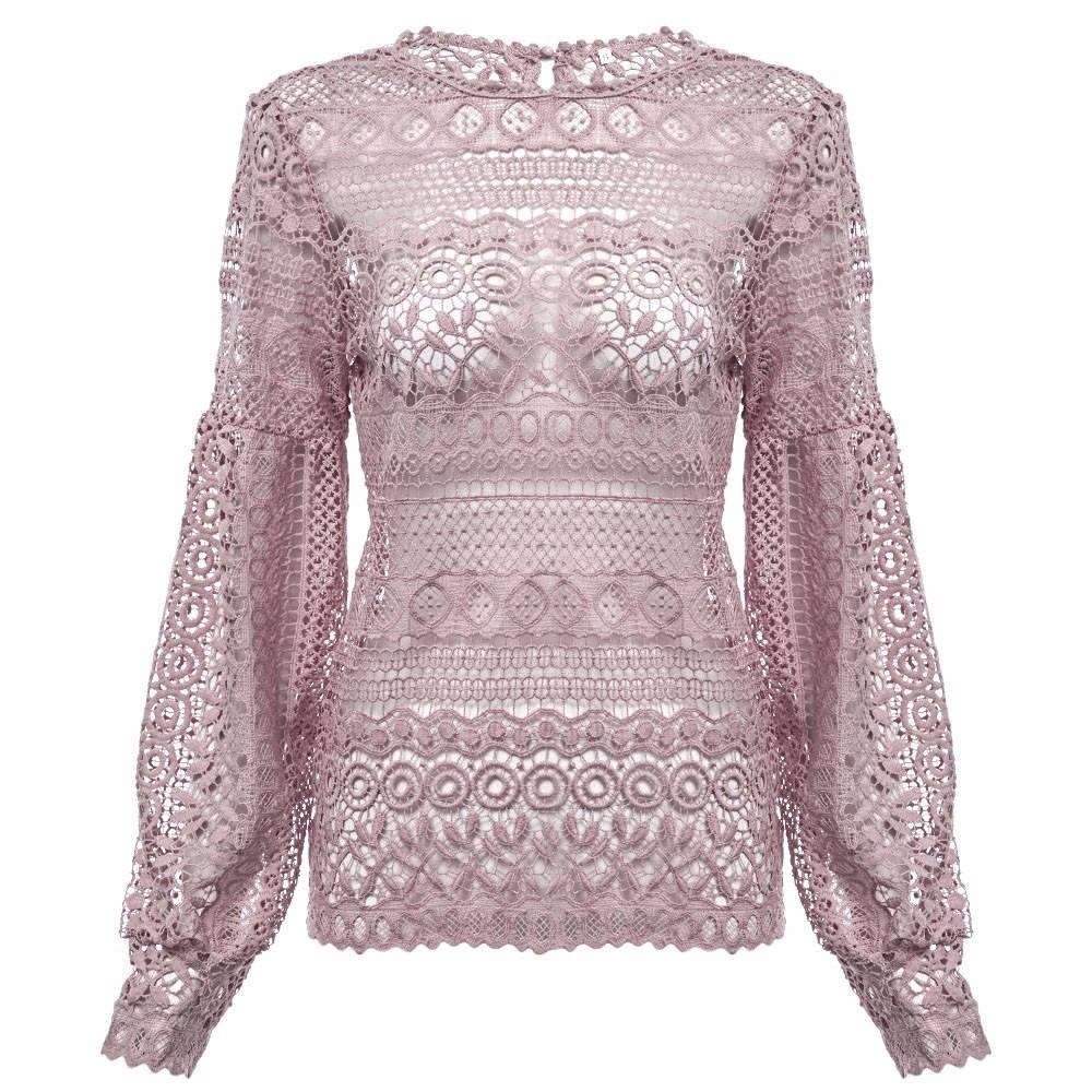 VESTLINDA Sexy Lace Hollow Out Blouse Shirt Women Blusas Feminina 2017 O Neck Lantern Sleeve Blusa Ladies Elegant Lace Blouse 22