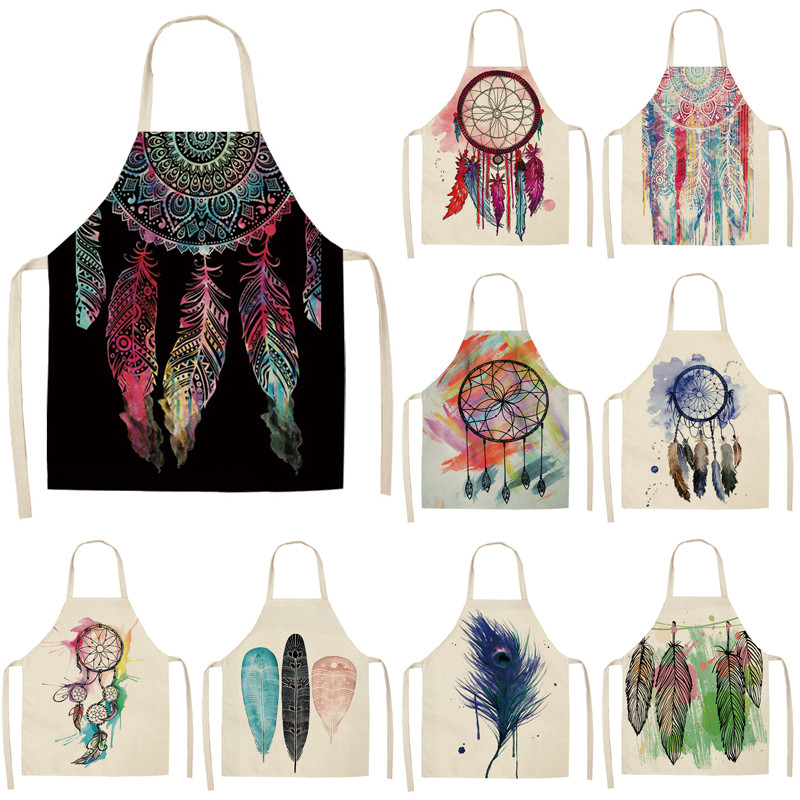 1Pcs Feather Pattern Kitchen Aprons Dinner Party BBQ Cooking Waist Bib Cotton Linen Funny Pinafore Cleaning Tools 53*65cm A1046