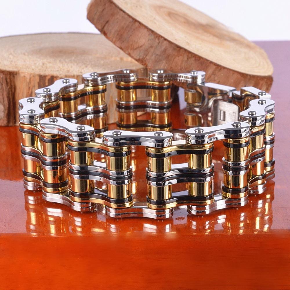 Titanium Steel Bracelet, 316L Stainless Steel Bicycle/ Car Chain style Strand Bracelet, Multilayer Multicolor Bracelet