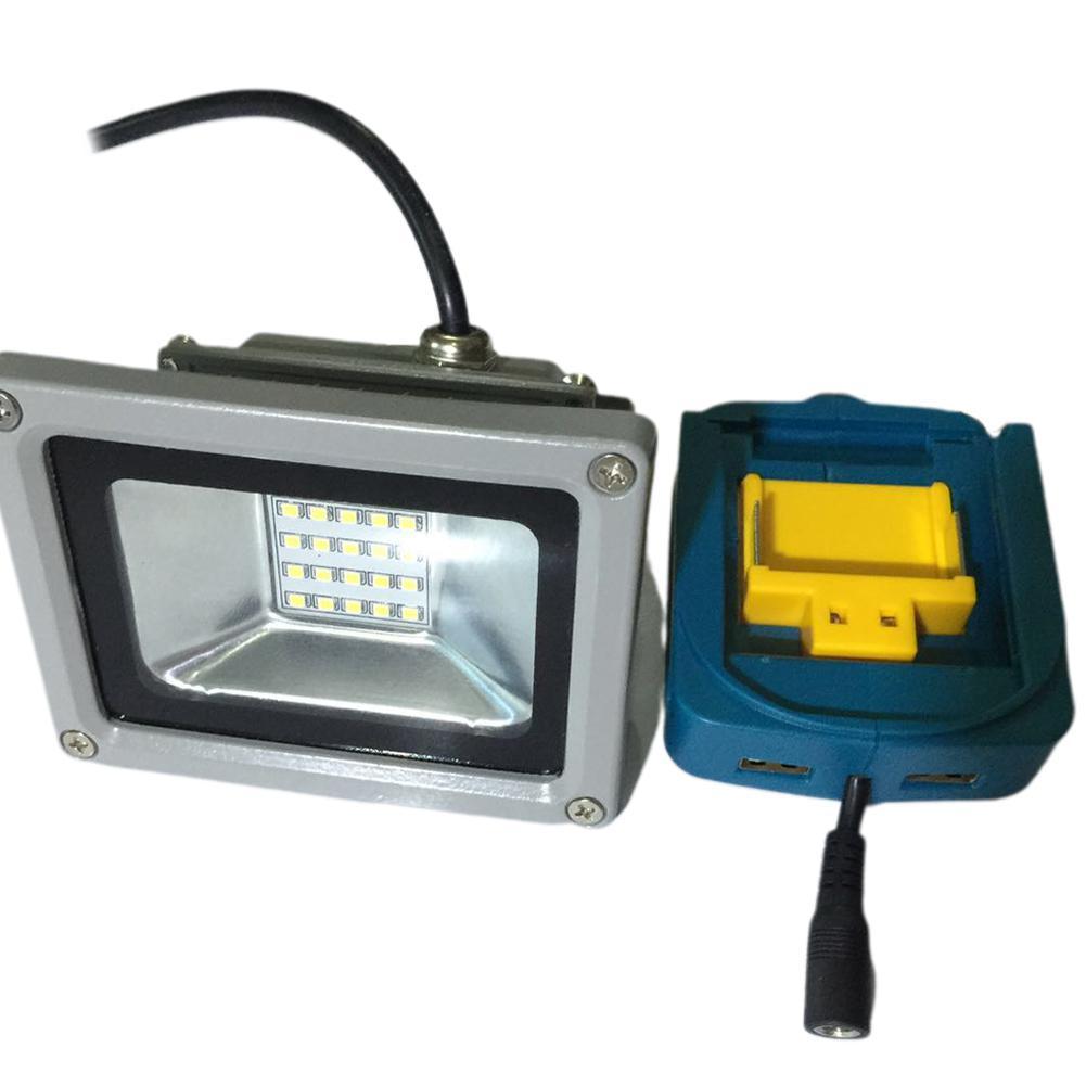 None USB Power Charger Adapter Converter + 10W LED Light For MAKITA 18V Tools ADP05 14.4V Lithium Battery Light