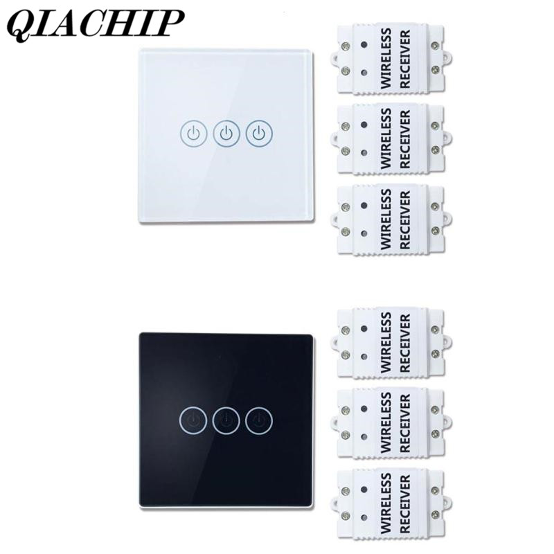 QIACHIP Wireless Remote Control Touch Switches Waterproof 3 Gang Crystal Glass Switch Work with Amazon Alexa Free stickers DS25 2017 free shipping smart wall switch crystal glass panel switch us 2 gang remote control touch switch wall light switch for led