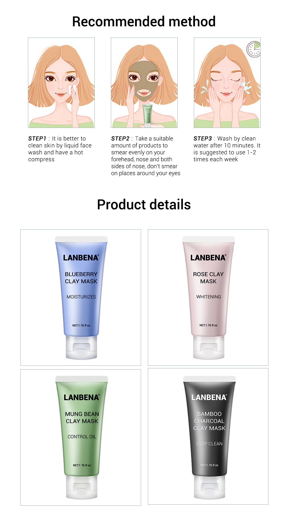 LANBENA Face Mask Mung Bean Clay Oil Control Deep Cleaning Blackhead Remover Purifying Shrinks Pores Nourishing Acne Treatment