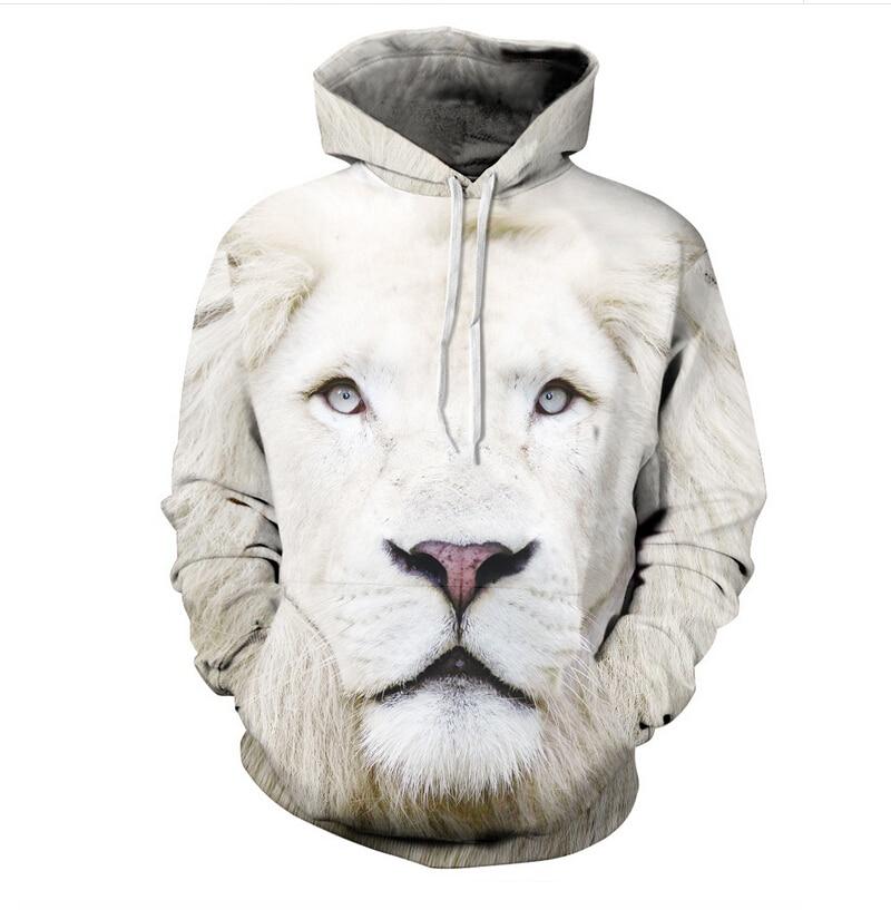 White Lion Hoodie women/men Harajuku Sweatshirt printed Casual graphic Long-sleeved 3d animal hoodies clothes plus size S-3XL