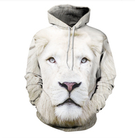 Wit Leeuw Hoodie vrouwen/mannen Harajuku Sweatshirt gedrukt Casual grafische Lange mouwen 3d animal hoodies kleding plus size S-3XL
