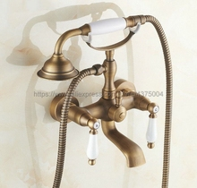цены Antique Brass Wall Mount Bathroom Bath Tub Faucet Mixer Tap Ceramic Handle Hand Shower Head Ntf152