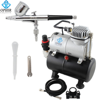 OPHIR Cake Decoration Airbrush Set Dual Action Airbrush Kit & 110V,220V Air Tank Compressor for Hobby Paint Tanning _AC090+004