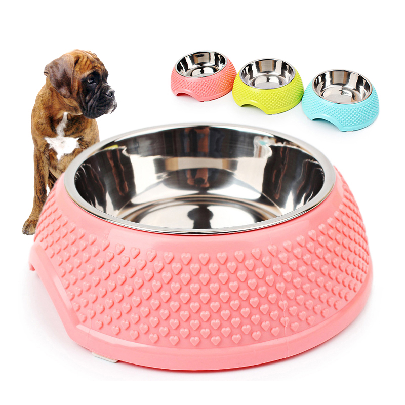 Good quality brand new Stainless steel Plastic Dog Bowls Cats Dog Feeder Heart shaped Bowl For Food And Water small pet Bowl image