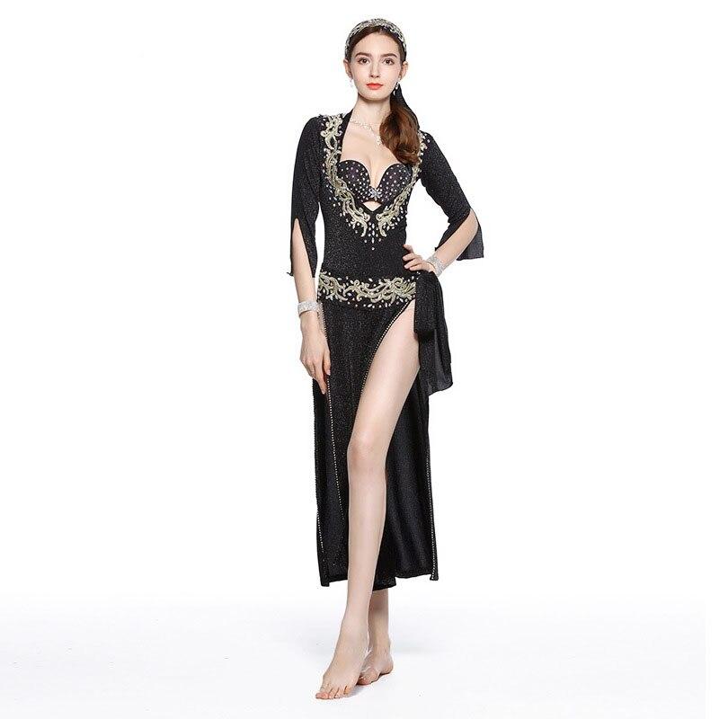 Egyptian belly dance Embroidery saidi dress baladi galabeya Lycra handmade Costume 5pcs Set (dress bra headpiece belt shorts)