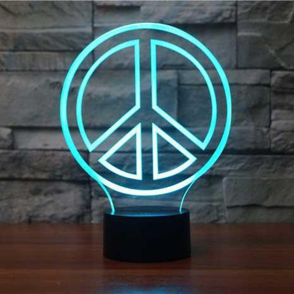 Liberal Novelty 3d Night Light 7 Colors Change Atmosphere Peace Table Lamp Usb Kids Bedroom Bedside Decor Baby Sleep Light Fixture Gifts For Improving Blood Circulation Lights & Lighting