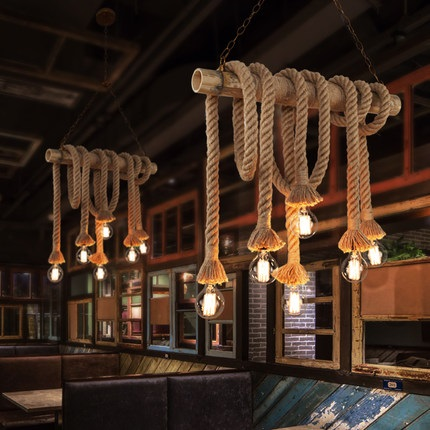 Vintage Bamboo rope Pendant Lamp Retro Countryside wicker Pendant Lights With 6 Lights For Dinning Room,Living Room ark light wicker sepa takraw pendant lamp free shipping pendant lamp pendant lightwith cane shades for dinning room sitting room