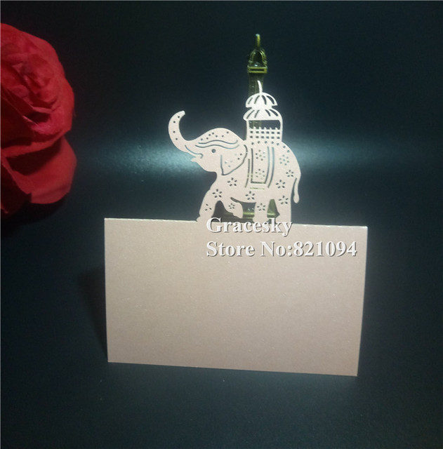 50Pcs Free Shipping Laser Cut Calf Elephant Pearlescent Birthday Wedding Invitation Cards Seat Name Table