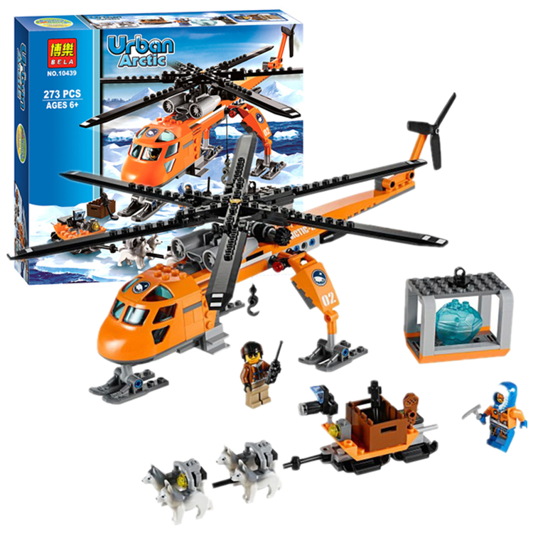 Pogo Lepin Bela 10439 Arctic Helicopter Transport Rescue Team Urban Police City Building Blocks Bricks Toys Compatible Legoe bela 10439 compatible lepin city arctic helicrane building blocks policeman figure toys for children girls