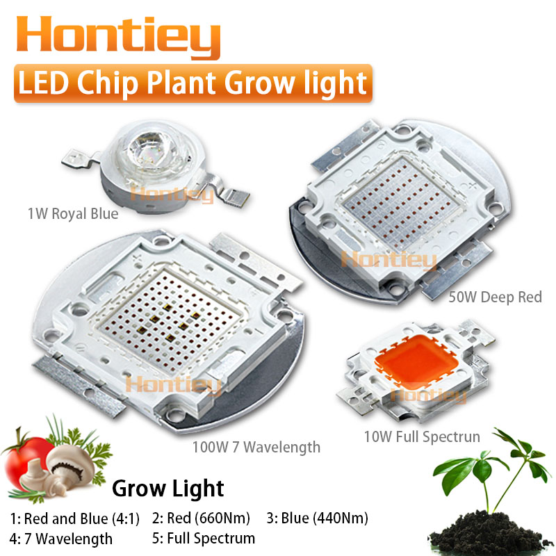 Plant Grow light LED chip Full spectrum 7 Wavelength Royal Blue 440Nm Deep Red 660Nm 1W - 5W 10W 20W 30W 50W 100W High Power COB 2pcs 30mil 10w 660nm plant grow lights led chip dc6 7v 1000ma excellent quality light source for plant grow faster and batter