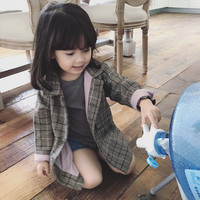 DFXD Korean Style Kids Clothes Spring Girl Jacket 2018 Long Plaid Single breasted Fashion Outwear High Quality Children Coat