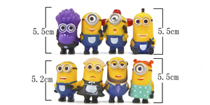 Image 2 - 8 יח\חבילה Minion מיניאטורי צלמיות צעצועים חמוד יפה דגם ילדים צעצועי 5.5cm PVC אנימה ילדי דמות