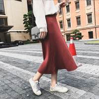 Women Warmth Loose Long Elastic Knitted Skirt Causal A Line Pure Color Knitting Skirts Femme Lolita