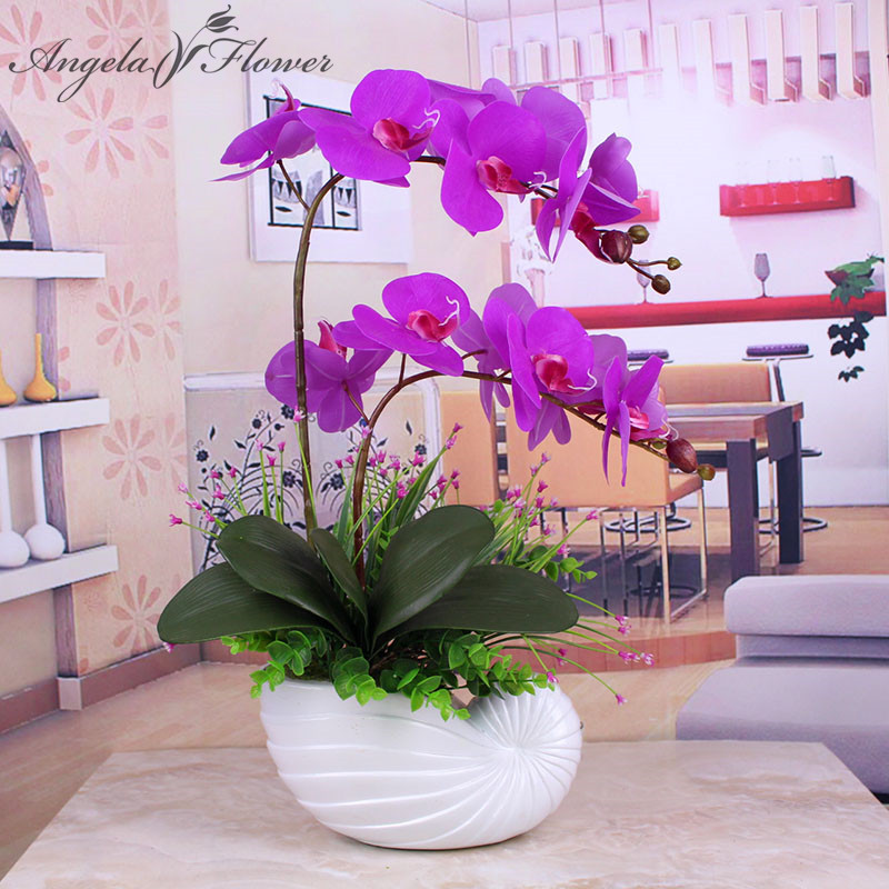 Buy artificial 1pcs phalaenopsis with for Angela florist decoration