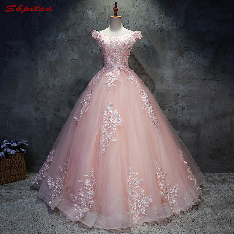 2018 rose dentelle Quinceanera robes robe de bal 15 doux 16 Puffy Quinceanera robe de bal robes pour 15 ans