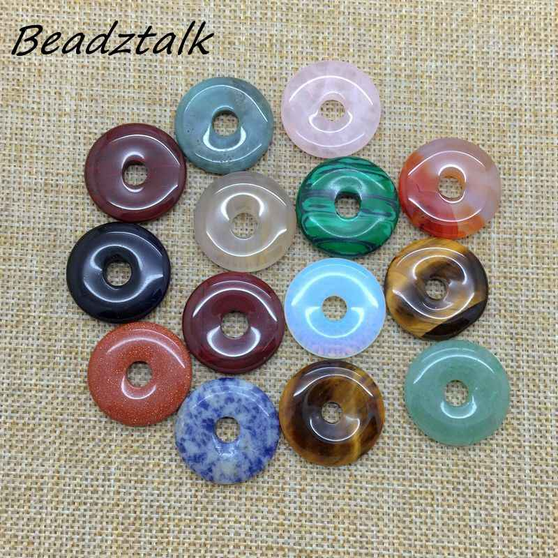 Wholesale Donut Natural Stone Pendants 25 mm Round DIY Jewelry Making Necklace Mixed Stones Carnelian Opal Onyx Howlite