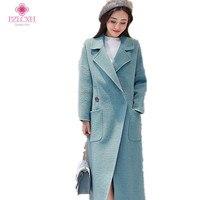 PZLCXH 2017New Venta Caliente de La Mujer Abrigo de Lana de Alta Calidad Chaqueta de Invierno Las Mujeres de Lana Larga Abrigos de Cachemira Cardigan Chaquetas ZL0936