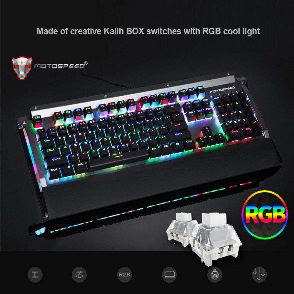 Motospeed CK98 Gaming Keyboard Blue Switch Mechanical Keyboard RGB Backlit 104 Keys Anti-Ghosting for Gaming Kailh BOX Switch