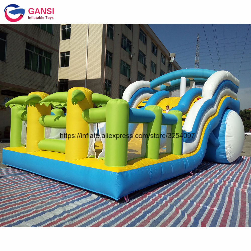 Having fun giant inflatable dry slide, inflatable stair slide for kids playing outdoors