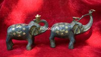 Rare Qing Dynast bronze elephant Statue/ Sculpture,elephant send money,A Pair,free shipping