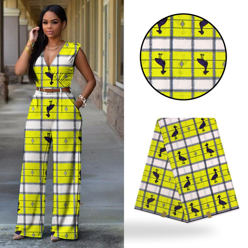 Yellow birds design african print clothing patchwork fabric veritable wax 6 yards whole YBGHL 351 in Fabric from Home Garden