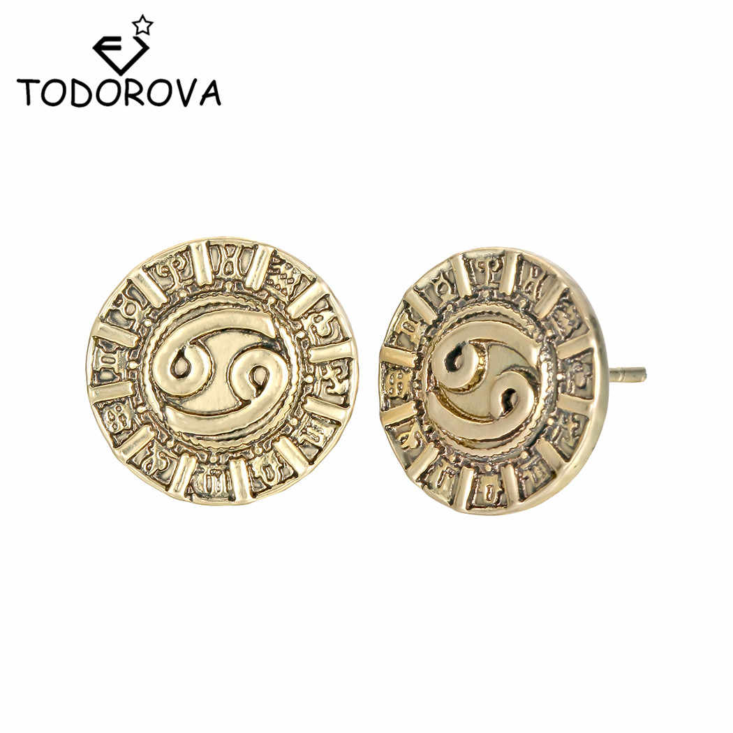 Todorova 12 Constellation Cancer Zodiac Signs Earrings Astrology Horoscope Star Amulet Nordic Male Birthday Gift