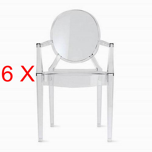 6 x louis ghost chair di plastica trasparente sedie pedicure in 6 ...