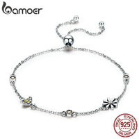 BAMOER Spring Collection 100 925 Sterling Silver Dancing Bee In Daisy Garden Women Chain Bracelet Fashion