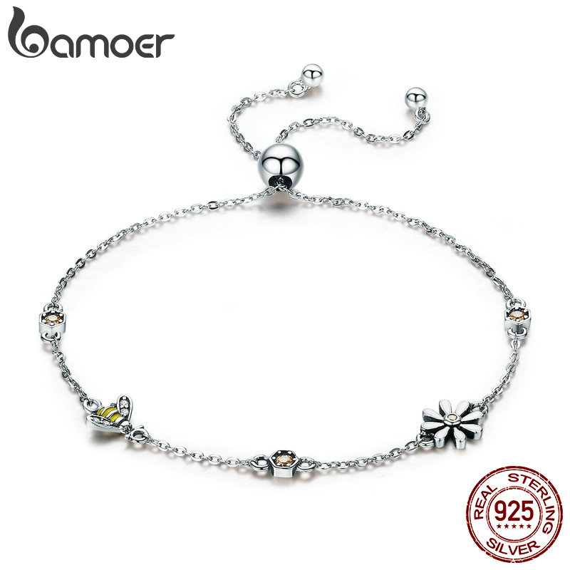 BAMOER Spring Collection 100% 925 Sterling Silver Dancing Bee In Daisy Garden Women Chain Bracelet Fashion Jewelry Gift SCB061