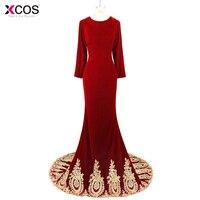 Real Photo 2018 Applique Beaded Robe de Soiree Muslim Evening Dresses Long Sleeve Dubai Burgundy Velvet Mermaid Prom Dress