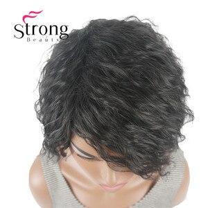 Image 5 - Strong beauty perruque Bob asymétrique courte, perruque synthétique complète, noire, ondulée, duveteuse