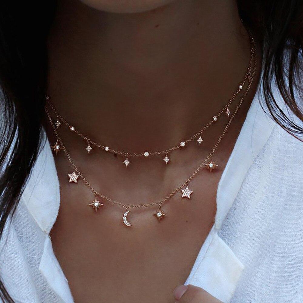 bls-mircale Multi Style Crystal Stone Stars Moon SunDangle For Women Girls Vintage Multilevel Summer Bohemian Geometric Jewelry