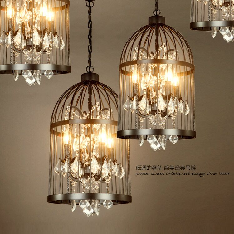 American vintage restaurant bird cage crystal chandelier lamp home american vintage restaurant bird cage crystal chandelier lamp home deco e14 bulb villa rust iron industrial chandelier light in pendant lights from lights aloadofball