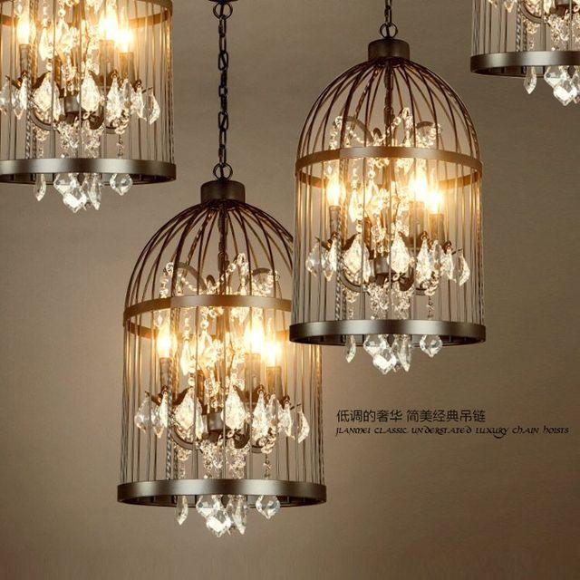 American vintage restaurant cage à oiseaux lustre en cristal lampe ...