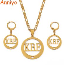 Anniyo Name KBE Necklace Earrings Jewelry sets for Womans Gold Color Jewellery Gift (CAN NOT CUSTOMIZE THE NAME ) #036221