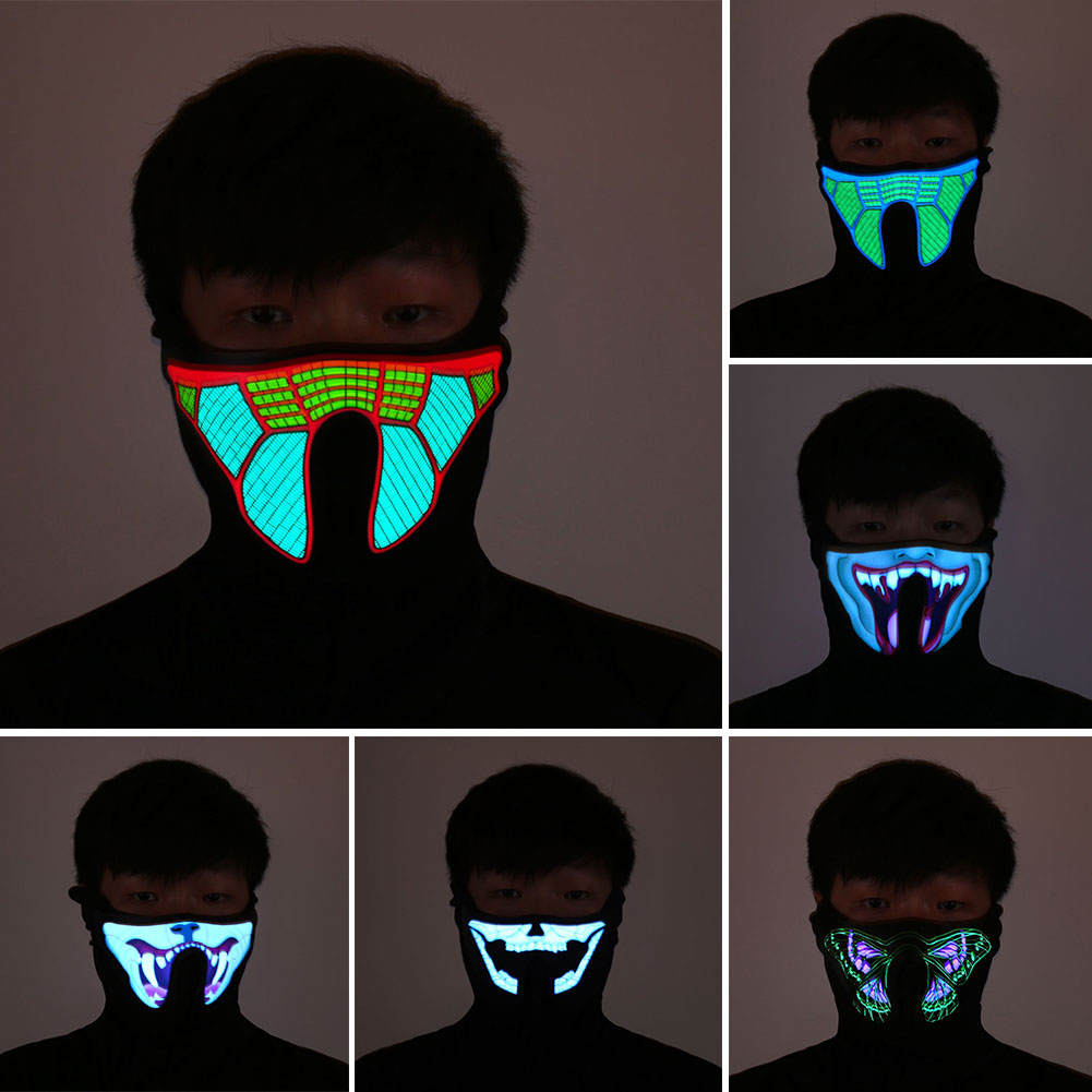 Halloween LED Incandescente Maschera Maschere Partito Prop Masquerade Maschere Cosplay Luce del Flash Luminoso Carnaval Natale Mascaras Disfraces