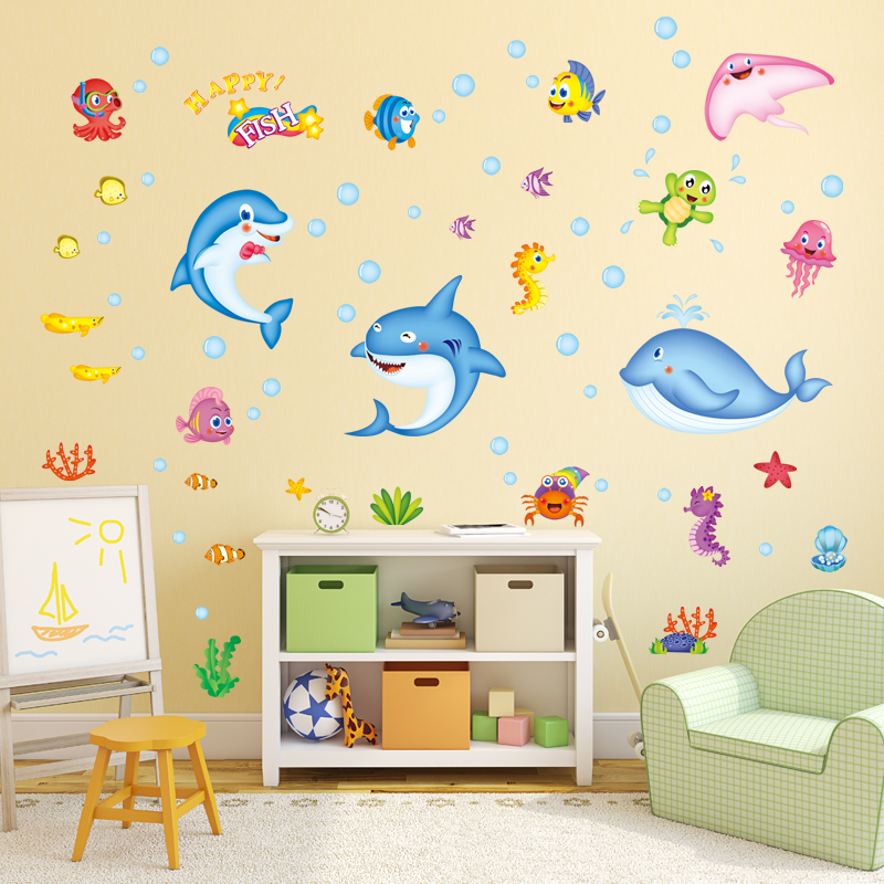Zs Sticker fish wall stickers waterproof home decor bathroom wall ...
