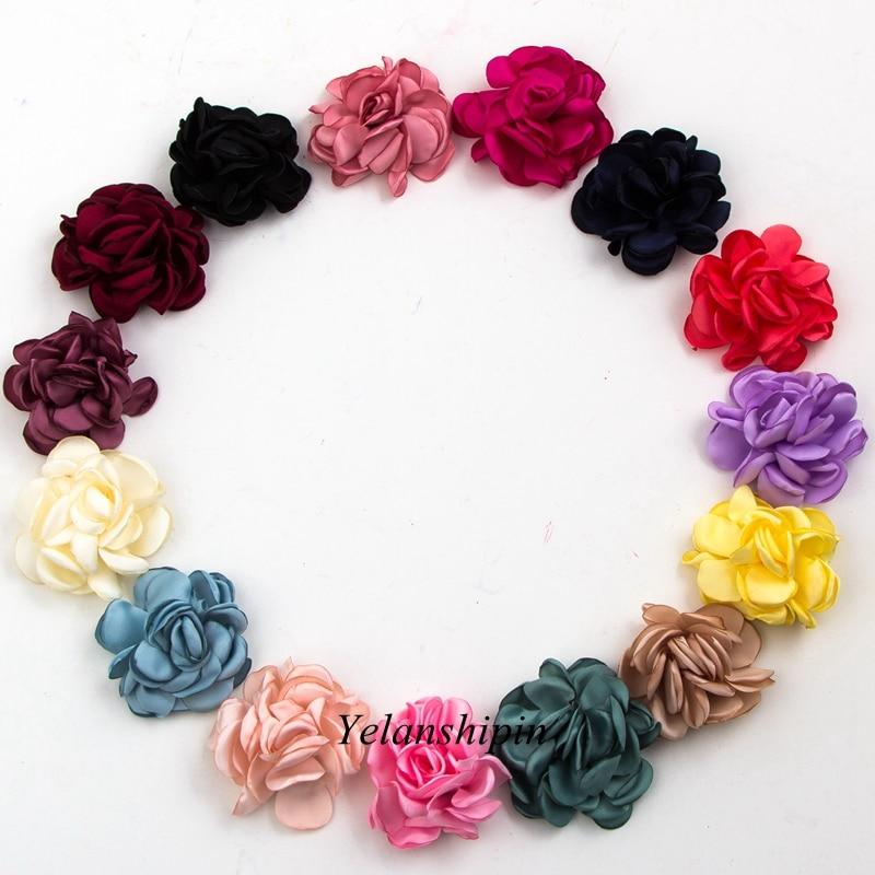 10 pz/lotto 6 cm 14 colori Clip di Capelli Dell'annata Bruciare Eage Capelli Rose Fiori Per Bambini Accessori Artificiali Fiori In Tessuto per la Fascia