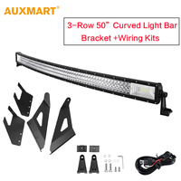AUXMART 50'' 702W Curved LED Light Bar Tri Row Combo Work Light Bar with Upper Windshield Mount for Chevrolet Silverado/GMC