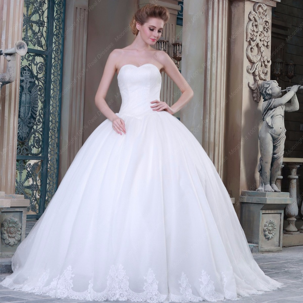 Real Photo Wedding Dress Ball Gown Sweetheart Lace Bottom Tulle ...