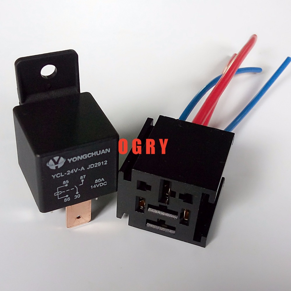 цена на JD1912 80A Wide-leg High Current Relay  Automotive Relays 12V/24V 4 pins, can be equipped with socket