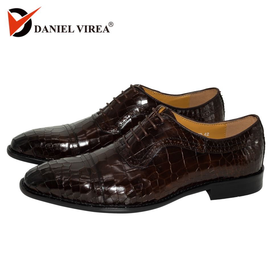 0f78a2d11ce79 Men Dress Oxfords Shoes Genuine Leather Dark Coffee Color Luxury Brand  Office Formal Pointed Toe Fashion Plaid Mens Wedding Shoe