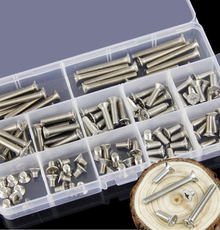 304 stainless steel cross countersunk machine screw set M2 flat head machine bolt bolts 110pcs-360pcs/ цена
