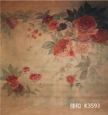10X20ft Hand painted scenic Muslin photo studio backdrops,beautiful flower photographic background wedding custom service K3593
