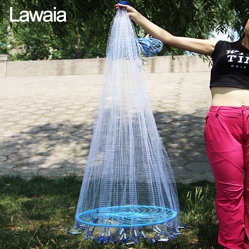 Lawaia Easy throw Cast Net Fishing Network Tool Diameter 240cm-540cm American Style Fishing Net Small Mesh Outdoor